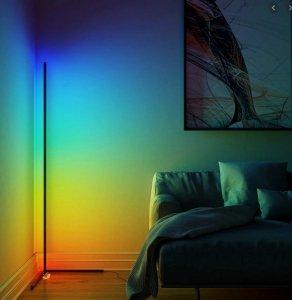 NOWOCZESNA LAMPA stojąca narożna RGB LED+Bluetooth