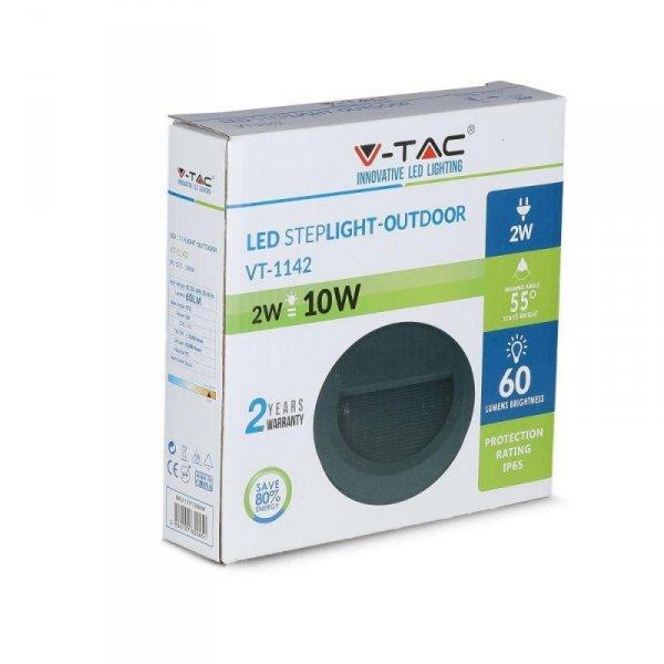 Oprawa Schodowa 2W LED V-TAC Czarna Okrągła 230V IP65 VT-1142 4000K 60lm