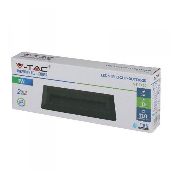 Oprawa Schodowa 3W LED V-TAC Czarny Prostokąt 230V IP65 VT-1162 4000K 110lm