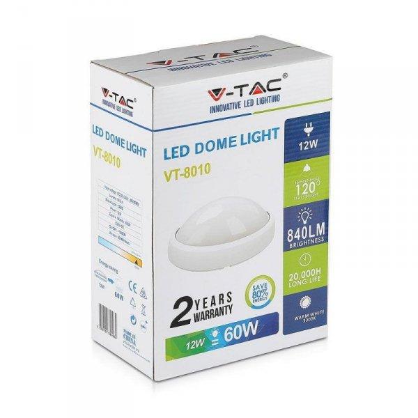 Plafon 12W LED V-TAC Owal Biały IP54 VT-8010 6400K 840lm