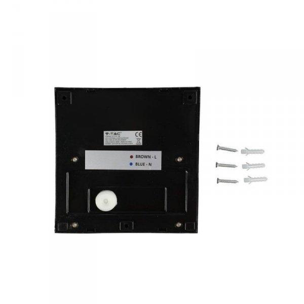 Oprawa Ścienna Elewacyjna 3W LED V-TAC Czarny Kwadrat 230V IP65 VT-1172 3000K 210lm