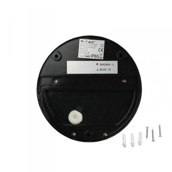 Oprawa Ścienna Elewacyjna 3W LED V-TAC Czarna Okrągła 230V IP65 VT-1182 4000K 210lm