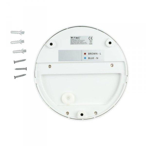 Oprawa Ścienna Elewacyjna 3W LED V-TAC Biała Okrągła 230V IP65 VT-1182 4000K 210lm