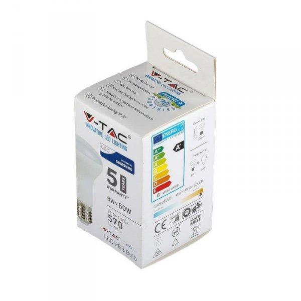 Żarówka LED V-TAC SAMSUNG CHIP 8W E27 R63 VT-263 6400K 570lm 5 Lat Gwarancji