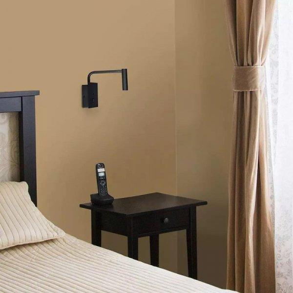 Oprawa LED V-TAC 3W Kinkiet Hotel Łóżko USB/włącznik Czarny VT-2943 3000K 180lm 3 Lata Gwarancji