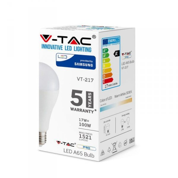 Żarówka LED V-TAC SAMSUNG CHIP 17W E27 A65 VT-217 3000K 1521lm 5 Lat Gwarancji