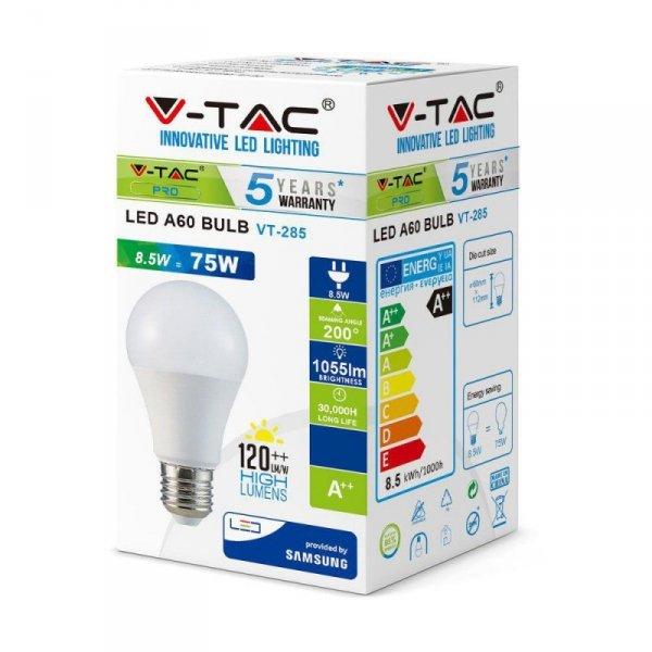 Żarówka LED V-TAC SAMSUNG CHIP 8.5W E27 A++ A60 VT-285 3000K 1055lm 5 Lat Gwarancji