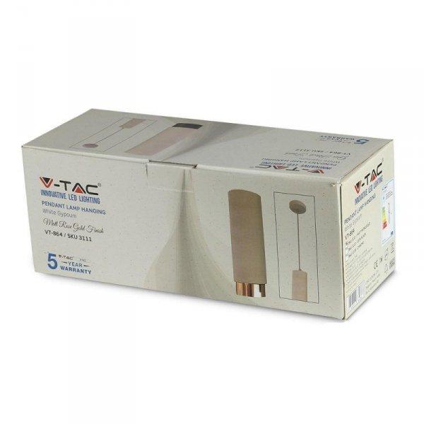 Oprawa V-TAC GIPS BETON GU10 Zwis Biały/Różowe Złoto VT-864 5 Lat Gwarancji
