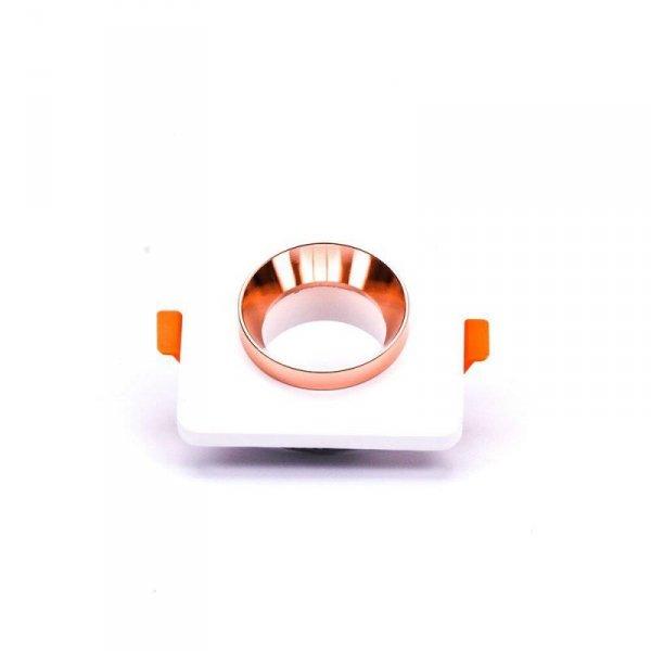 Oprawa Oczko V-TAC GIPS BETON GU10 Kwadrat Wpuszczany Biały/Różowe Złoto VT-862 5 Lat Gwarancji