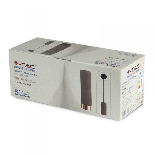 Oprawa V-TAC GIPS BETON GU10 Zwis Szary/Różowe Złoto VT-864 5 Lat Gwarancji