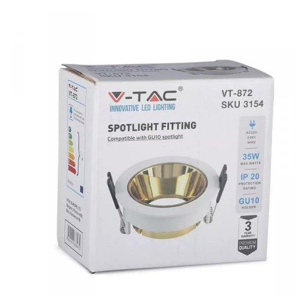 Oprawa Oczko V-TAC GU10 Wpuszczana Biały/Złoty Okrągła VT-872 3 Lata Gwarancji