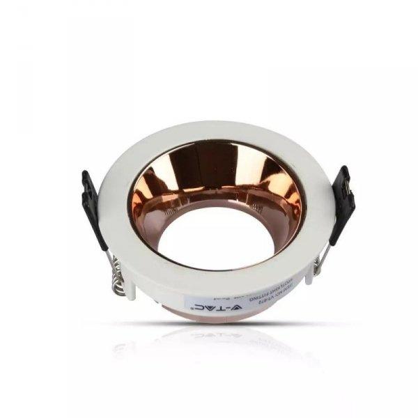 Oprawa Oczko V-TAC GU10 Wpuszczana Biały/Różowy Złoty Okrągła VT-872