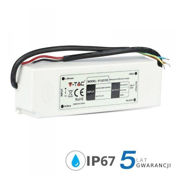 Zasilacz LED V-TAC 150W 12V 12.5A IP67 Hermetyczny Filtr EMI VT-22155 5 Lat Gwarancji