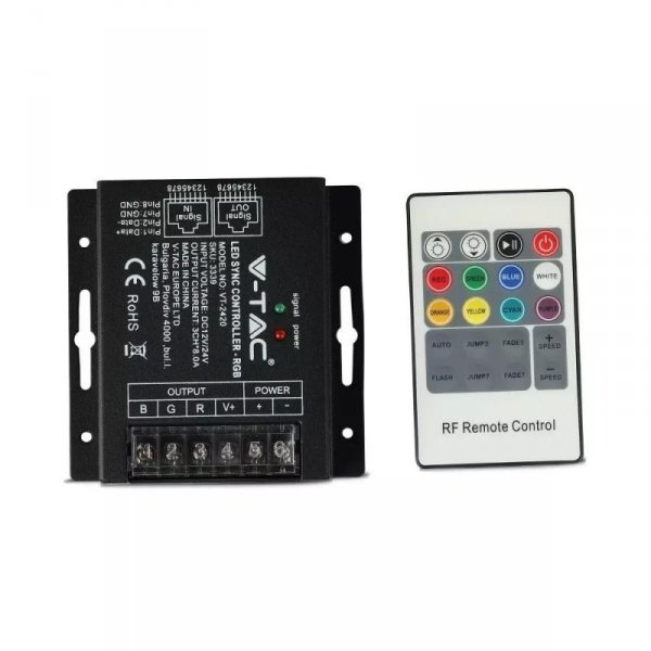 Sterownik Taśm LED RGB Radiowy 12V/24V 288W/576W RJ45 V-TAC VT-2420