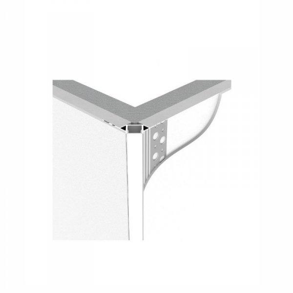 Profil Aluminiowy V-TAC 2mb Anodowany, Klosz Mleczny, Do gipsowania, Narożny zewnętrzny VT-8103