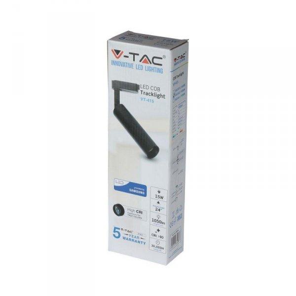 Oprawa 15W LED V-TAC Track Light SAMSUNG CHIP CRI90+ Czarna VT-415 4000K 1200lm 5 Lat Gwarancji