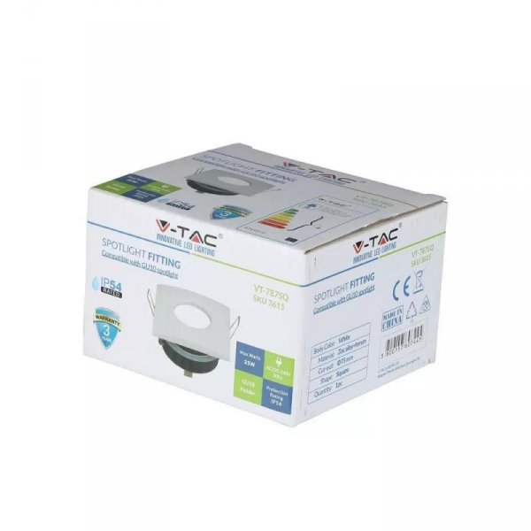 Oprawa Oczko V-TAC Aluminiowa Odlew Hermetyczne z szybką IP54 GU10 Kwadrat 84x84mm Biały VT-787