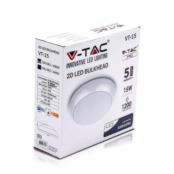 Plafon LED V-TAC SAMSUNG CHIP 15W IP65 Okrągły VT-15 6400K 1200lm 5 Lat Gwarancji