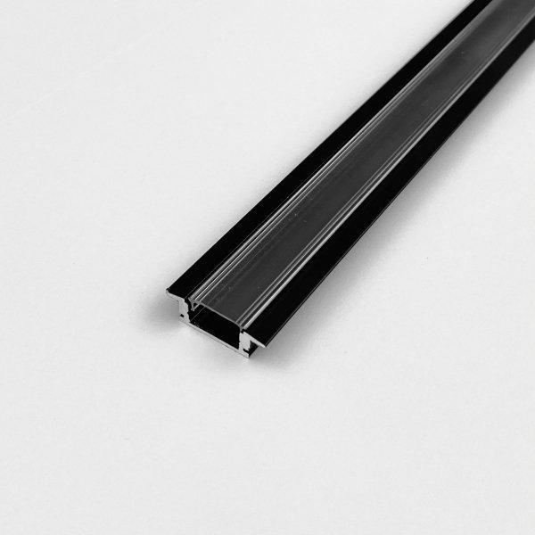 Profil LP-B wpuszczany czarny 1m kpl. klosz zaślepki uchwyty