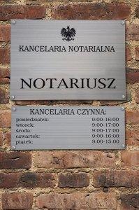 Tablica notariusz 50/35cm + tablica z godzinami urzędowania