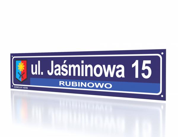 Tablica z herbem i nazwą ulicy