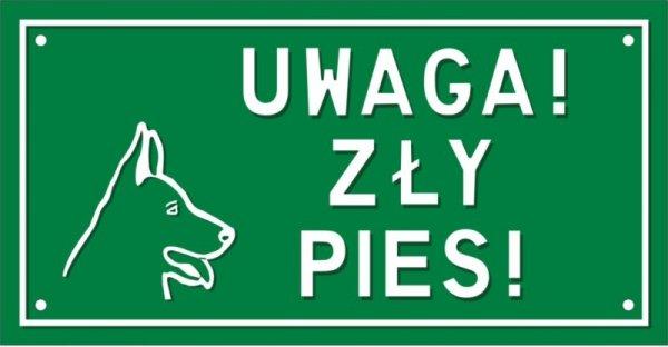 Uwaga zły pies (tablica tłoczona)