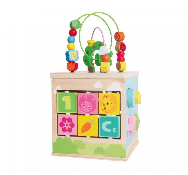 Drewniana kostka edukacyjna centrum zabawy Zwierzątka
