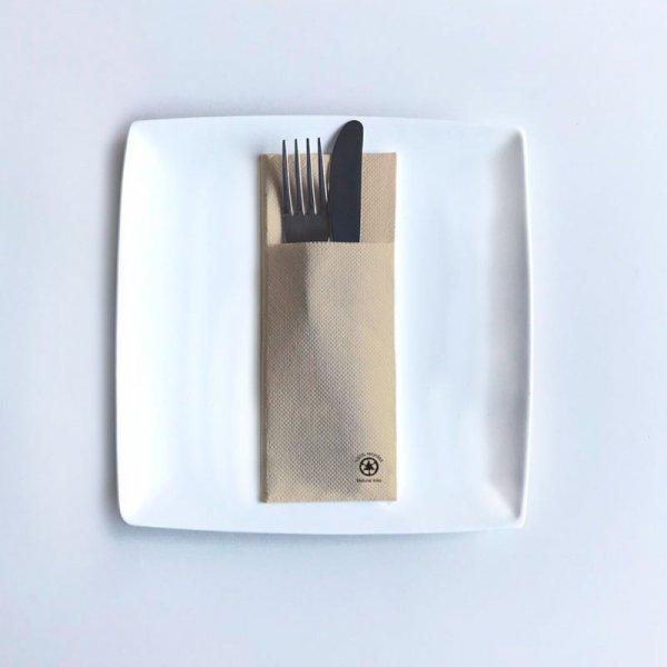 Serwetki papierowe z kieszonką wytłaczane 40×32cm GoGreen Premium naturalne, 40szt