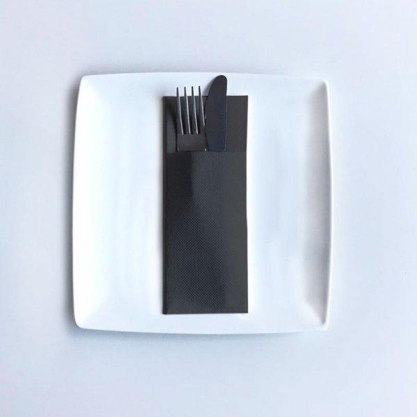 Serwetki papierowe z kieszonką wytłaczane 40×32cm GoGreen Premium czarne, 40szt