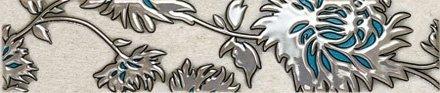 Domino Gris Flower Turkus Listwa 7,4x36