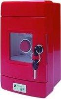 Przycisk wystający 1Z 1R czerwony w obudowie OBC pierścień niklowany zmłoteczkiem SP22-WC-11/OBC/BM