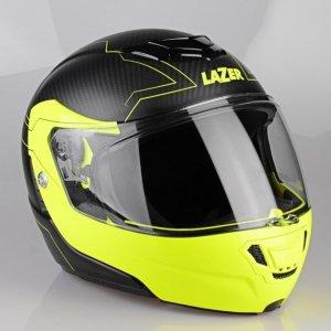 Kask motocyklowy LAZER MONACO EVO Droid Pure Carbon czarny/carbon/matowy/żółty fluo XS