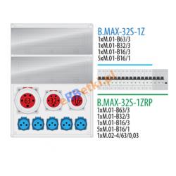 Rozdzielnica MAX BOX-32S 1x63A/5p, 1x32A/5p, 1x16A/5p, 5x230V zabezp. 1xM.01-B63/3, 1xM.01-B32/3, 1xM.01-B16/3, 5xM.01-B16/1, 1xM.02-4/63/0,03, IP65