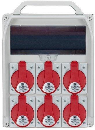 Rozdzielnica R-BOX 380R 13S 6x32A/5p, puste okno, IP44