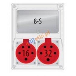 Rozdzielnica R-BOX 240 8S 1x32A/5p, 1x16A/5p, puste okno, IP 44
