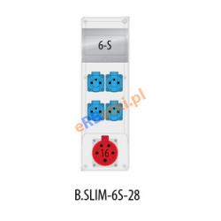 Rozdzielnica R-BOX SLIM 6S 1x16A/5p, 4x230V, zabezp. 1xM.01-B16/3, 3xM.01-B16/1, IP44