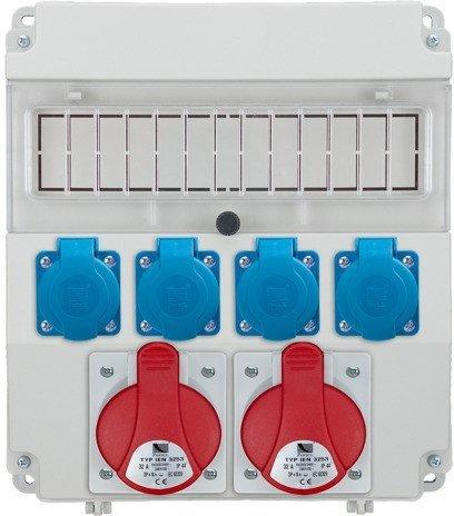 Rozdzielnica R-BOX LUX 320 2x32A/5p, 4x230V, puste okno, IP 44