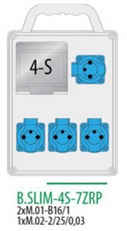 Rozdzielnica R-BOX SLIM 4S 4x230V zabezp. 2xM.01-B16/1, 1xM.02-2/25/0,03, IP44