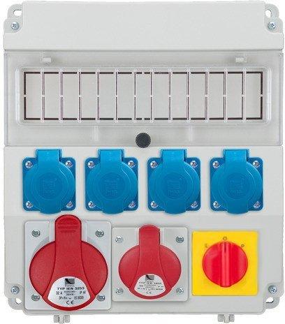 Rozdzielnica R-BOX LUX 320 1x32A/5P, 1x16A/5p, 4x230V, wył. (L/P), puste okno, IP 44