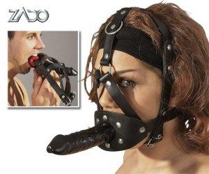 Strap-on maska z dildo i kneblem