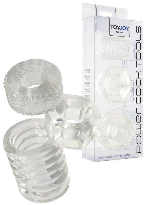 3 Pierścienie na penisa - Przeźroczyste - Power Cock Tools