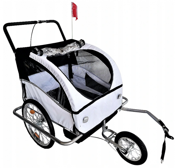 Przyczepka Rowerowa Składana 3w1 LED dla Dzieci Jogger Wózek