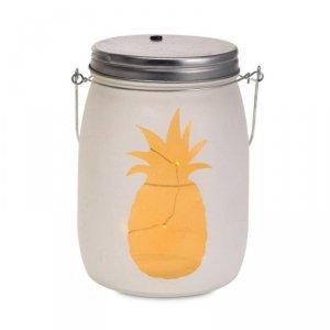 Szklany słój z lampkami LED Ananas 16 cm