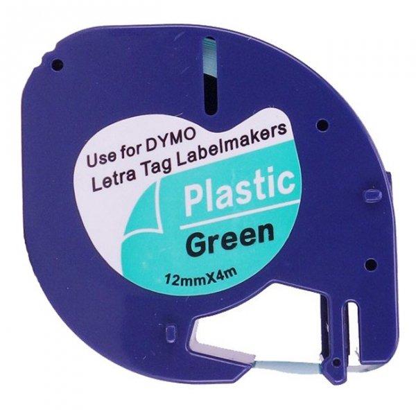 Taśma do Dymo LetraTag 59425 12mm x 4m Zielona Plastik - zamiennik GP-DY91204