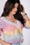 sweter ombre z koronkowym wykończeniem