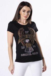 bawełniany t-shirt z błyszczącymi kryształkami na biuście