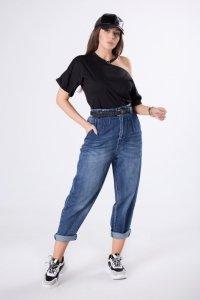 jeansy typu baggy z paskiem