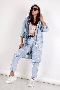długa kurtka jeansowa z kapturem