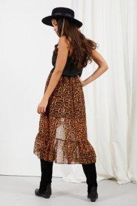 Długa spódnica z falbaną i jedwabiem LG542