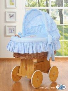 Kosz Mojżesza z budą- Dobranoc naturalny + niebieska pościel z haftem